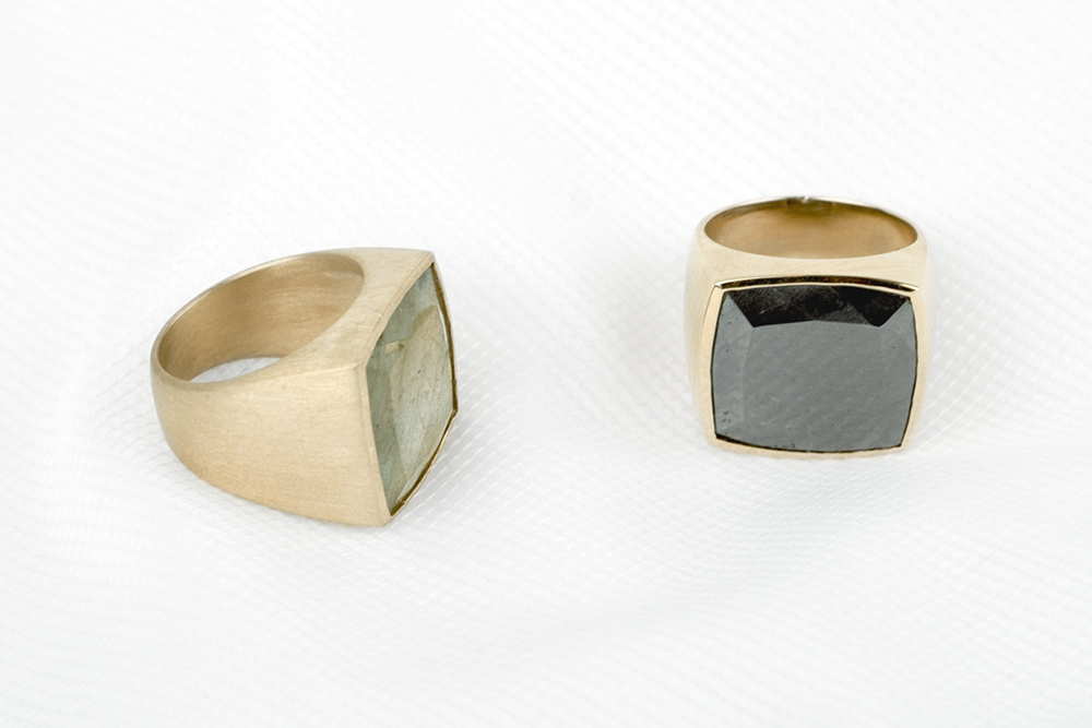 Bronze rings with labradorite or haematite (1)