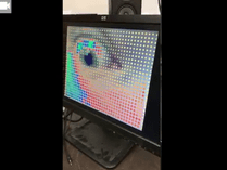 A multicolored digital display of an eye