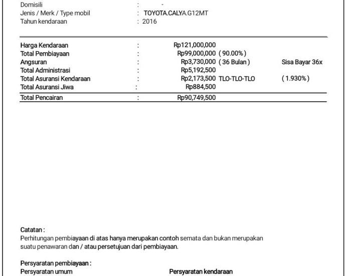 Estimasi perhitungan pencairan pinjaman gadai BPKB Mobil TOYOTA CALYA G 1.2 Manual Transmission Tahun 2016, di proses melalui BFI Finance Desember 2019.