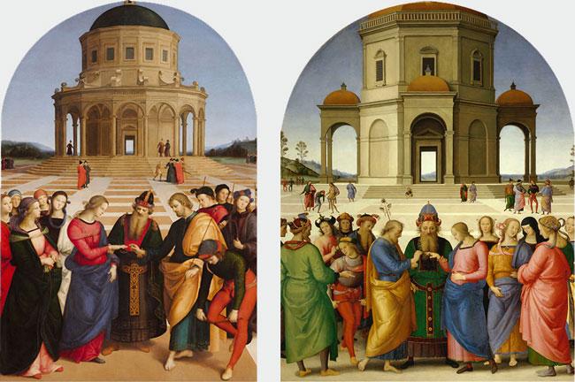Lo Sposalizio della Vergine di Raffaello e Perugino in mostra alla Pinacoteca di Brera