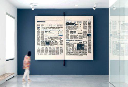 Cancellazione del debito pubblico, 2011280x400 cm libro e tecnica mista su tela montata su legno Università Commerciale Luigi Bocconi, Milano