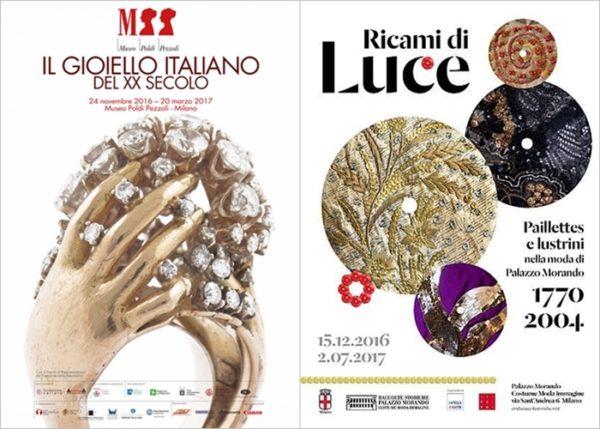 I classici a Milano - a sinistra: IL GIOIELLO ITALIANO al Museo Poldi Pezzoli a destra: RICAMI DI LUCE a Palazzo Morando