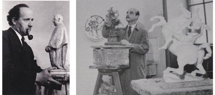 Giacomo Manzù e Lucio Fontana in due foto d'epoca