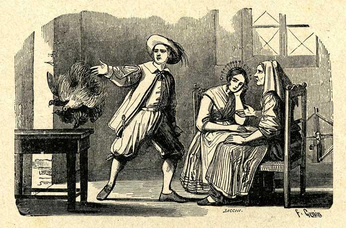 I Promessi Sposi, Renzo e Lucia illustrati da Gonin - Prima rappresentazione grafica del personaggio in assoluto