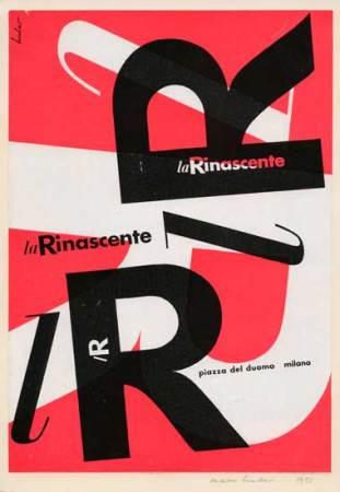 Max Huber, La Rinascente - lR,1951, pagina pubblicitaria, stampa, 29,3 x 20,3 cm Archivio Max Huber