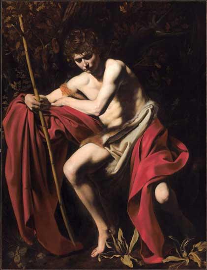Una delle opere esposte a Dentro Caravaggio: San Giovanni Battista (San Giovanni nel deserto) (1604 circa) - Kansas City, The Nelson-Atkins Museum of Art
