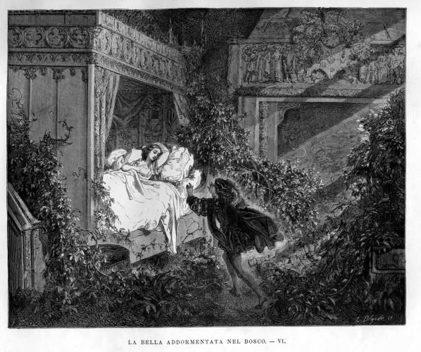 la Bella Addormentata illustrata da gustave Doré el 1882 (ed. ITA 1884)
