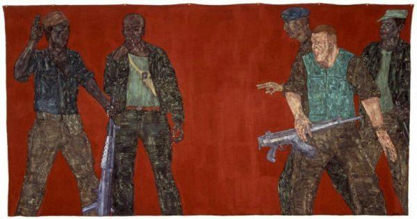 Mercenaries IV, 1980, acrilico su tela 582 x 305 cm. di Leon Golub (1922-2004), protagonista di una delle mostre di arte contemporanea alla Fondazione Prada.
