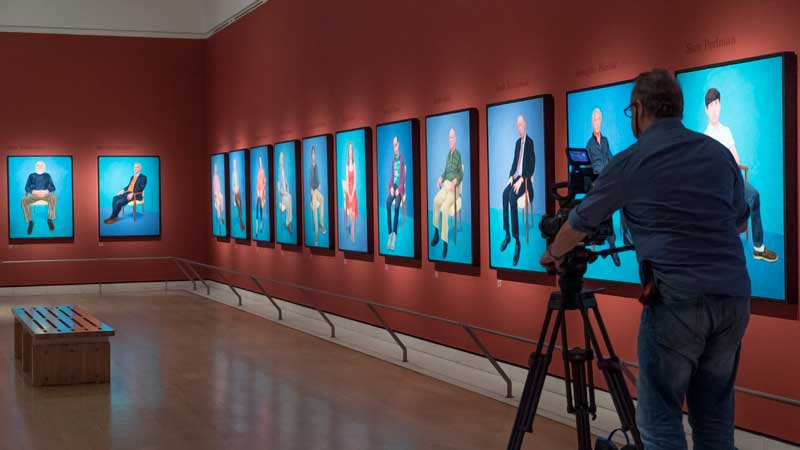 Un'immagine dal set del film David Hockney dalla Royal Academy of Arts - Photo: courtesy of Æ EXHIBITION ON SCREEN