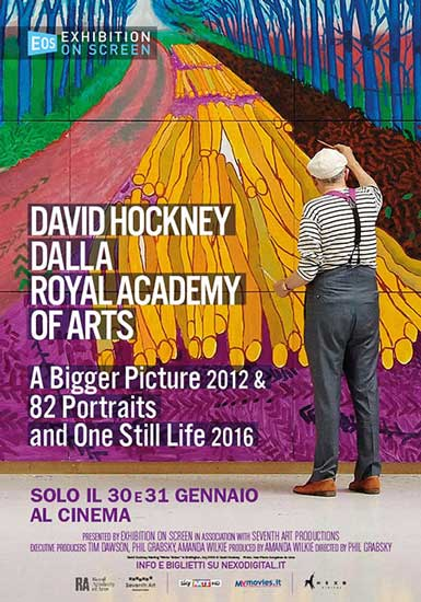 la locandina italiana del documentario David Hockney dalla Royal Academy of Arts