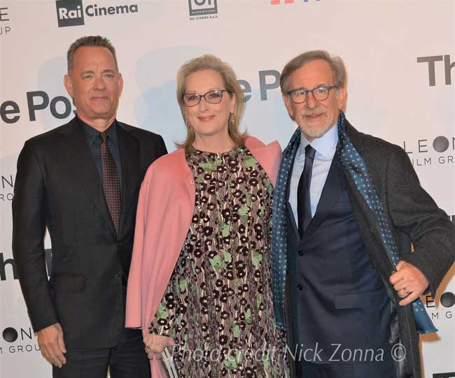 Tom Hanks, Meryl Streep e Steven Spielberg alla presentazione milanese del film The Post - Photo credit: Nick Zonna