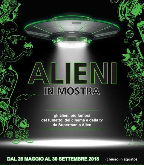 La locandina della mostra Alieni al museo WOW Spazio Fumetto