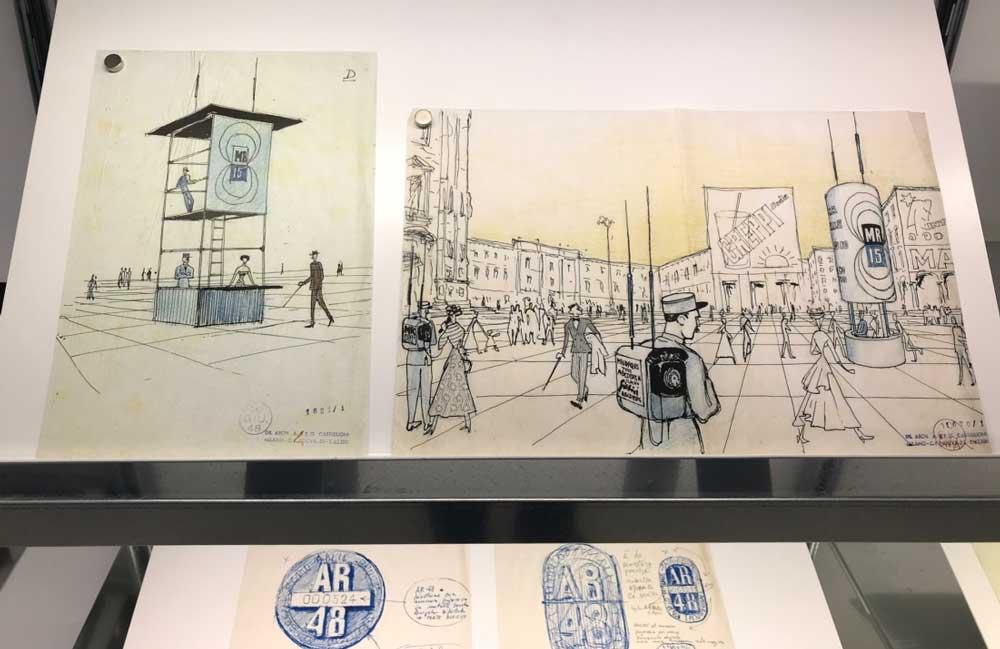 schizzi colorati di Achille Castiglioni in mostra al m.a.x. museo - Photo © MaSeDomani