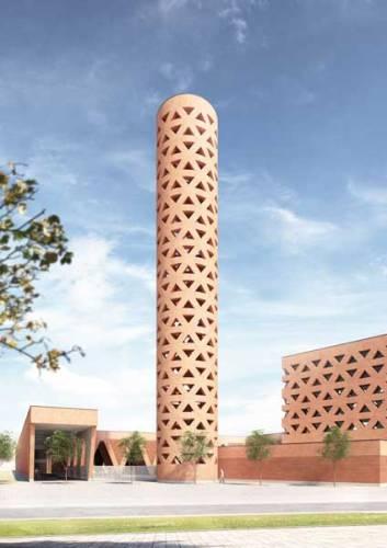 Mario Botta. Spazio Sacro -Moschea Yinchuan, Repubblica Popolare Cinese 2016- in fase di progettazione Render Marco Mornata (Mario Botta Architetti)