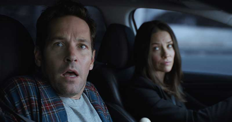 Paul Rudd (Scott Lang/Ant-Man) e Evangeline Lilly (Hope Van Dyne/Wasp) in Ant-Man and The Wasp