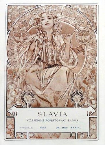 Mostra OND'EVITAR TEGOLE IN TESTA: Polizza del 1942 emessa dalla compagnia boema Slavia con il frontespizio inciso dall'artista Alfons Mucha.