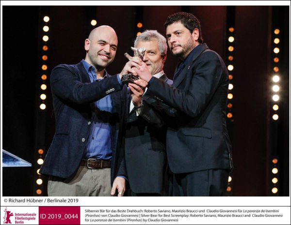 I vincitori della Berlinale 2019: Roberto Saviano, Maurizio Braucci e Claudio Giovannesi