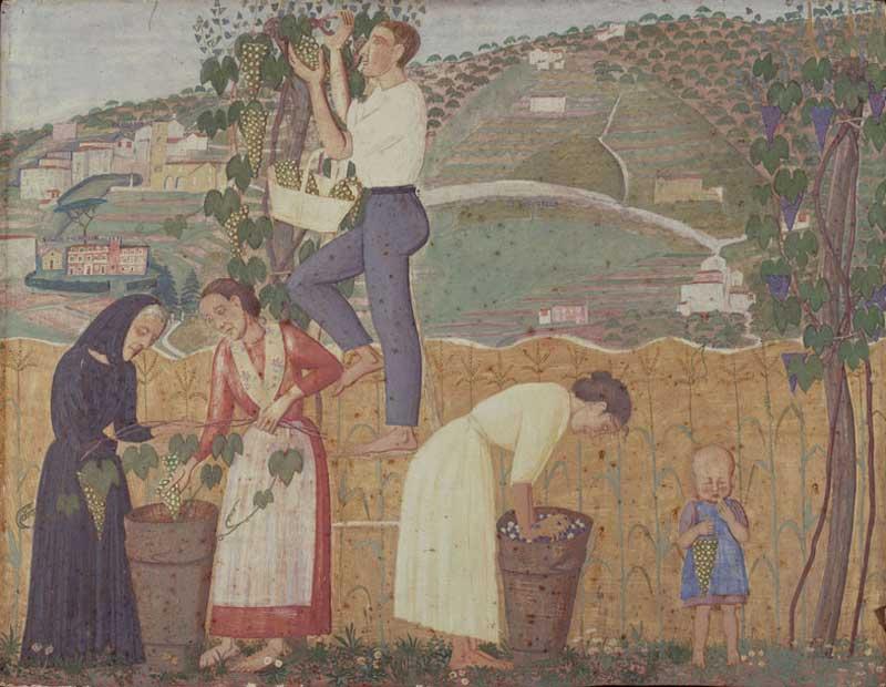 Alberto Magri, La vendemmia, 1912, trittico, tempera su tavola, cm 46x185, collezione privata