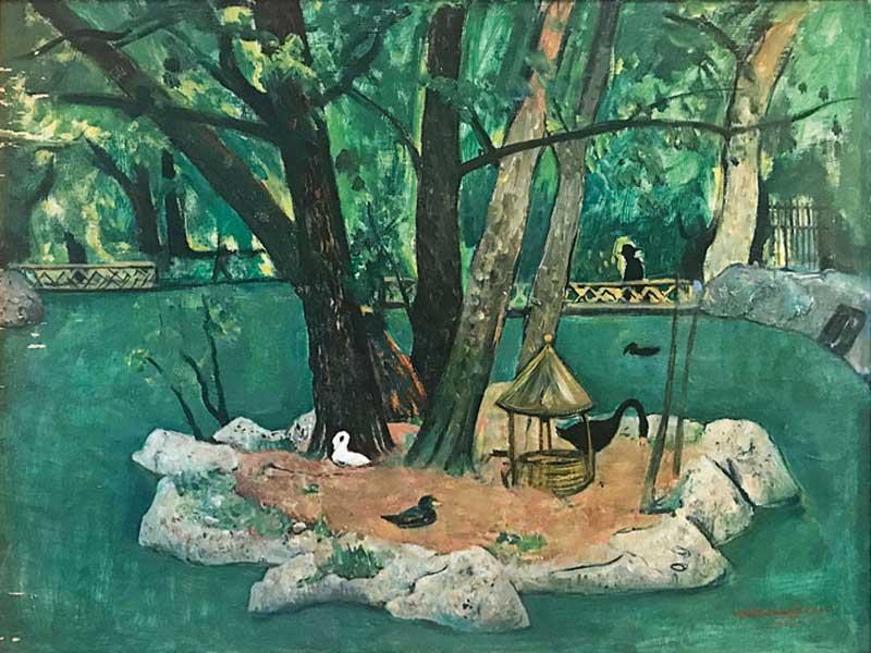 Cesare Breveglieri, L'Isolotto delle anitre, 1935, olio su tavola, cm 70x60, Collezione privata