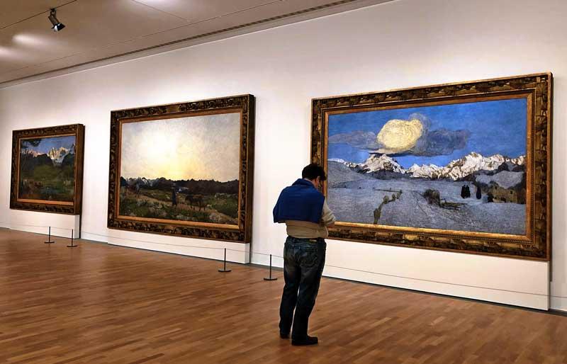 il trittico di Segantini al MASI per la mostra Hodler - Segantini - Giacometti. Photo by MaSeDomani
