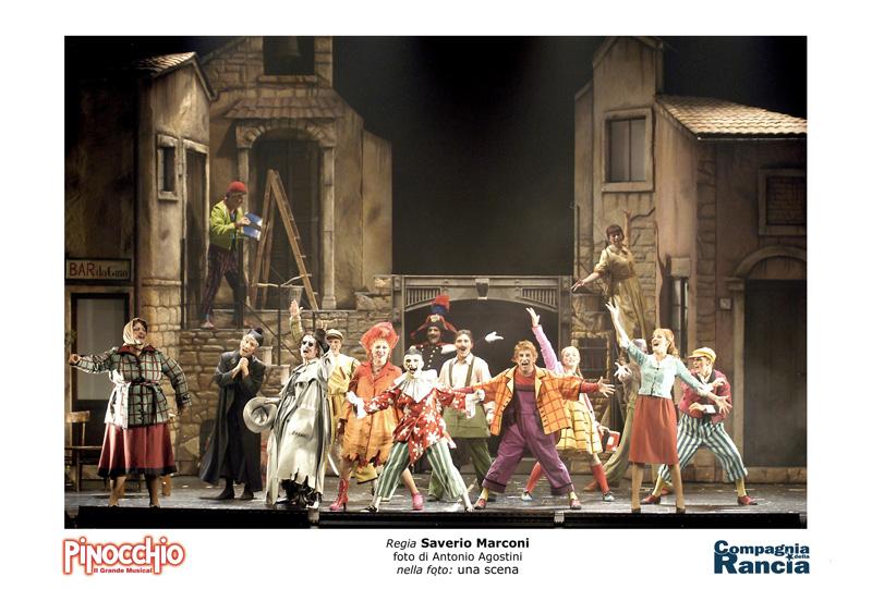 una scena a teatro di Pinocchio il musical