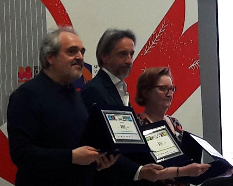 I tre vincitori. Da sinistra Luca Doninelli (6+), Guido Sgardoli (11+) e la traduttrice Anna Becchi - Ph: Sarah Pellizzari Rabolini