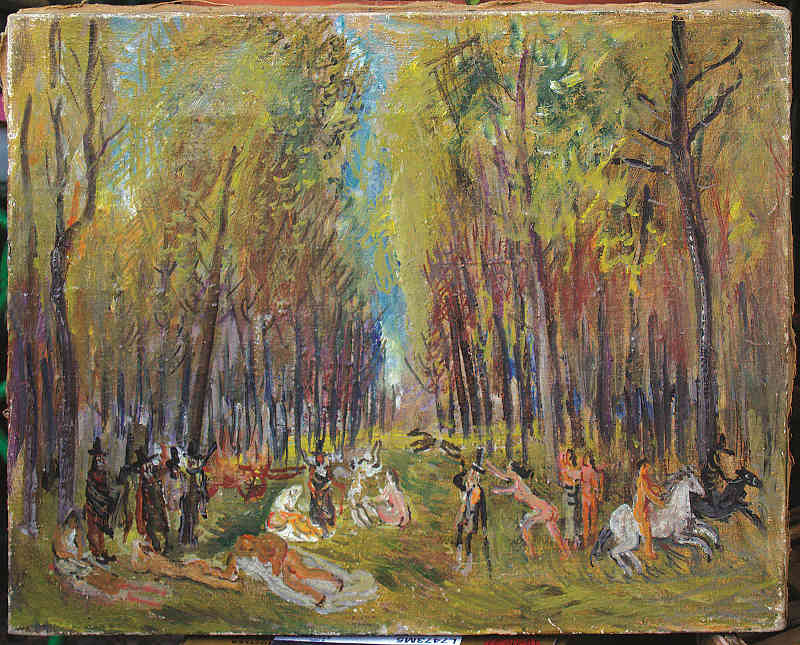 Guido Pajetta, Baccanale nel bosco. 1935, olio su tela, 40 x 50 cm