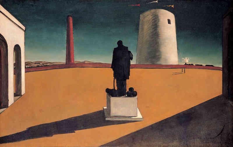 Giorgio de Chirico, L'enigma di una giornata, 1914. Olio su tela, 83 x 130 cm. Museu de Arte Contemporânea da Universidade de São Paulo, Brazil. © G. de Chirico by SIAE 2019