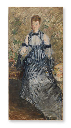 Édouard Manet, Donna con vestito a righe (Femme en robe à rayures), ca. 1877–80. Olio su tela, 174,3 x 83,5 cm. Solomon R. Guggenheim Museum, New York, Thannhauser Collection, Donazione Justin K. Thannhauser. © Solomon R. Guggenheim Foundation, New York (SRGF)