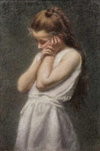 Angelo Morbelli, Meditazione, 1913. Olio su tela, 80x55,5 cm. Collezione privata