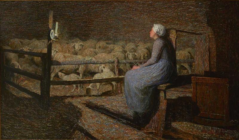 Giovanni Segantini, All'ovile, 1892. Olio su tela, 68x115 cm. Collezione privata. Dalla mostra Divisionismo La rivoluzione della luce