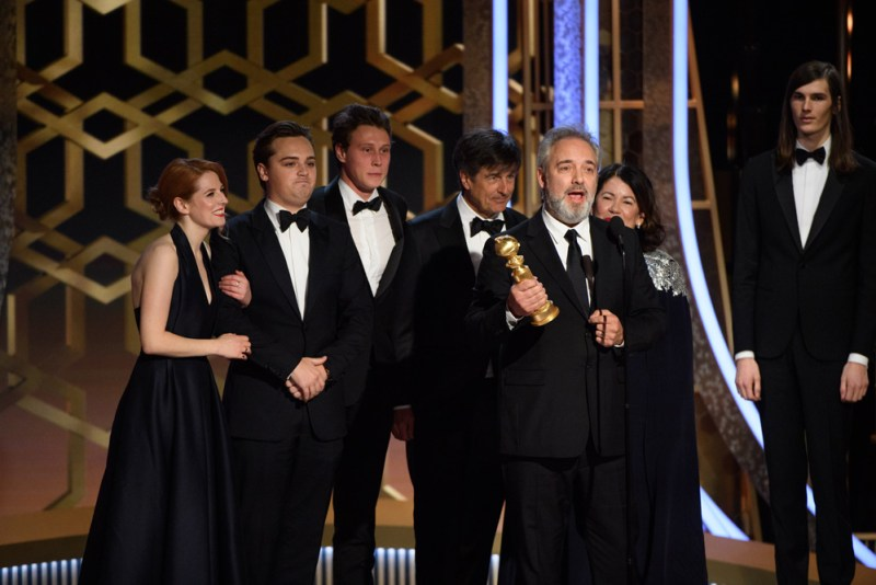 Sam Mendes accepts the Golden Globe Award for Best Motion Picture - Drama for