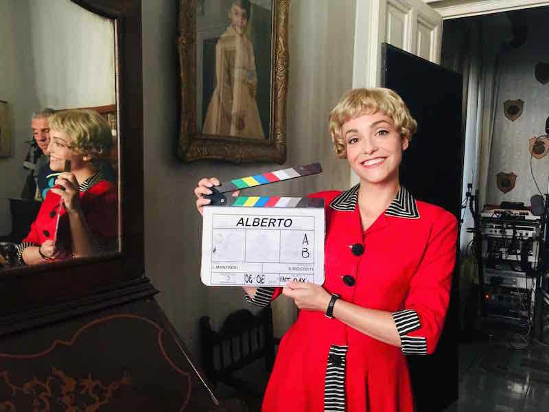 Permette Alberto Sordi: Martina Galletta sul set del film.