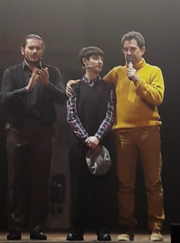 Salvatore Giuliano il musical del 13/1/2020. Da sinistra: Roberto Rossetti, Sofia Tornambene (vincitrice di X-Factor) e in giallo il maestro Dino Scuderi. Photo: Sarah Pellizzari Rabolini.