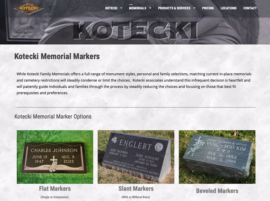 Kotecki Family Memorials Website