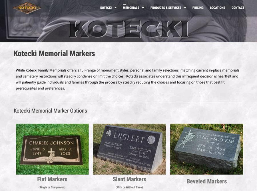 Kotecki Family Memorials Website