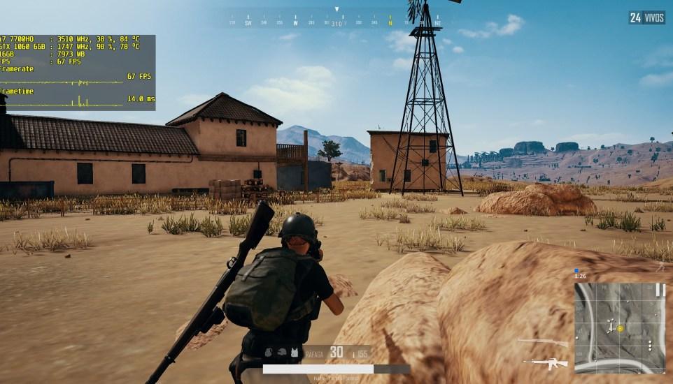 PlayerUnknown's Battlegrounds en el MSI GE63VR 7RE Raider