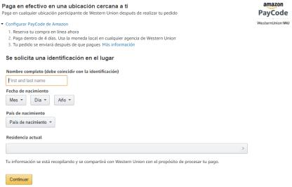 Formulario para usar Amazon Paycode en Colombia