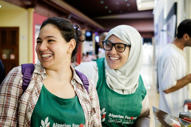 Lylia and Sabirne Bouras, sisters and both volunteering with the food bank.
