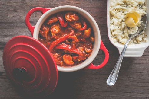 Hot and Spicy Chicken Paprika served with Mash Direct Colcannon Mash and butter | Mash Direct