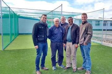 Cricket nets - finished and ready for the Masi750 launch in August 2017 (Wihan Swart [Lyners]; Colin Blaikie [Masicorp]; Andrew Smith [Masicorp]; Michael Tyhali [Ukhanyo]; Richard Maritz [SynSport])