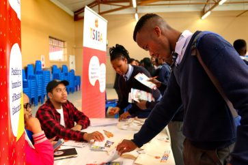Masi High learners visitng exhibitor stands at Career Expo