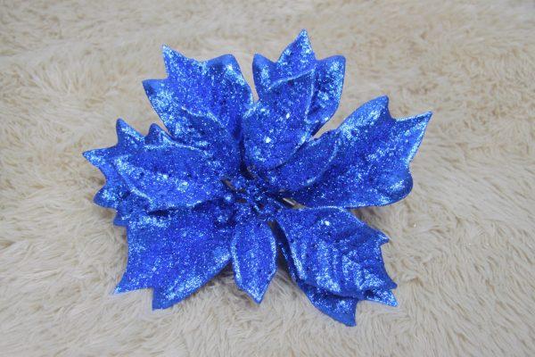 Blue Glittery Poinsettia - Masons Home Decor Singapore