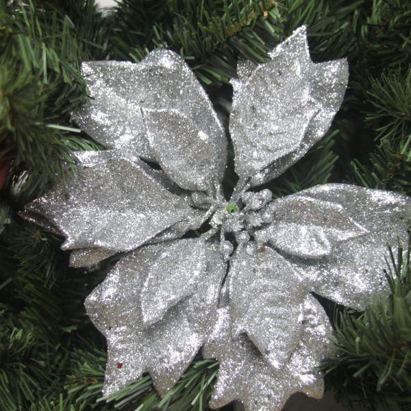 Silver Glittery Poinsettia - Masons Home Decor Singapore