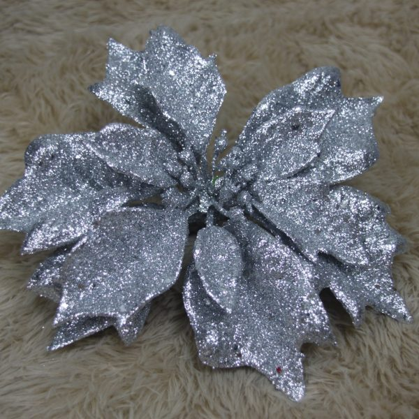 Silver Glittery Poinsettia - Masons Home Decor Singapore