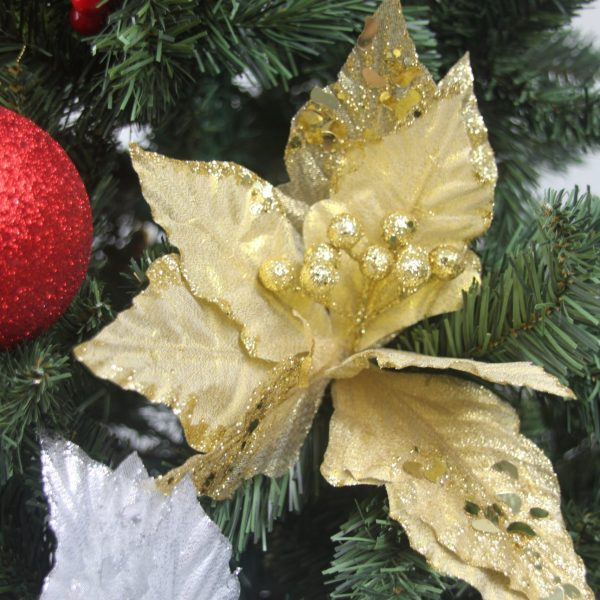 Morty Poinsettia Gold Tree Pick by Masons Home Decor Singapore