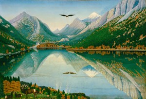 Wallowa Lake by Stephen W. Harley, Oregon, 1927-1928, oil on canvas. The Colonial Williamsburg Foundation. Museum Purchase.
