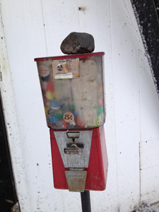 The gumball machine was salvaged.
