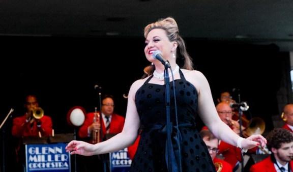 Glenn Miller Orchestra singer Laura Hart performing at West Shore Bank's Rhythm & Dunes concert in 2013.
