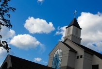 The bright fall sky and clouds over Cornerstone Baptist Church were fitting for the day.